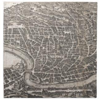 Mapa del vintage de Roma Italia (1652) Servilleta Imprimida