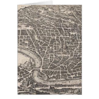 Mapa del vintage de Roma Italia (1652) Felicitacion
