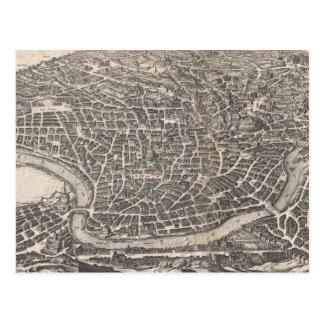 Mapa del vintage de Roma Italia (1652) Postal