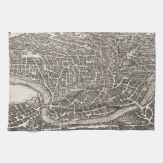 Mapa del vintage de Roma Italia (1652) Toallas De Cocina