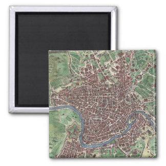 Mapa del vintage de Roma Italia (1721) Imán Cuadrado