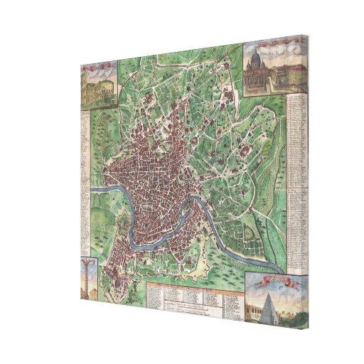 Mapa del vintage de Roma Italia (1721) Lona Envuelta Para Galerias