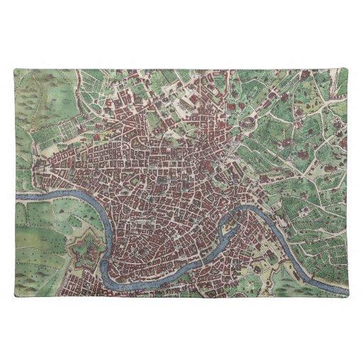 Mapa del vintage de Roma Italia (1721) Mantel Individual