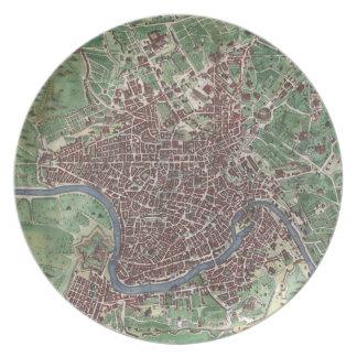 Mapa del vintage de Roma Italia (1721) Plato De Comida
