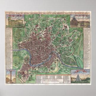 Mapa del vintage de Roma Italia (1721) Póster