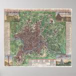 Mapa del vintage de Roma Italia (1721) Posters