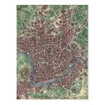 Mapa del vintage de Roma Italia (1721) Tarjetas Postales