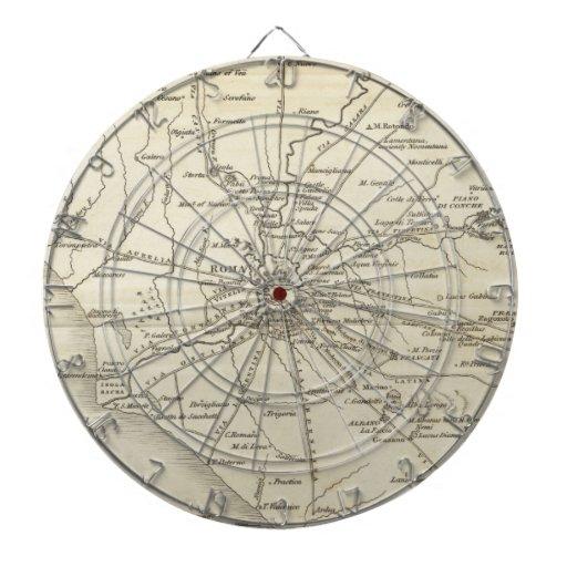 Mapa del vintage de Roma Italia (1821) Tablero Dardos