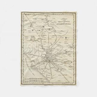 Mapa del vintage de Roma Italia (1821) Manta De Forro Polar