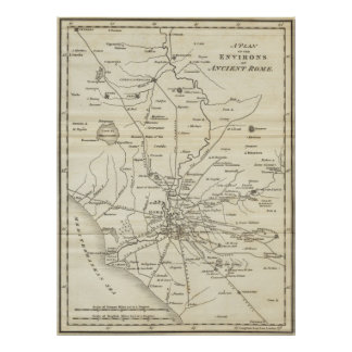Mapa del vintage de Roma Italia (1821) Póster