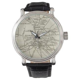 Mapa del vintage de Roma Italia (1821) Relojes De Pulsera