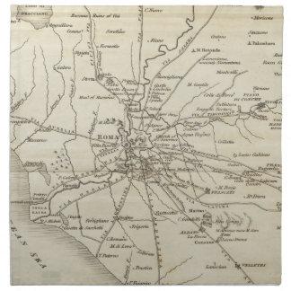 Mapa del vintage de Roma Italia (1821) Servilleta De Papel
