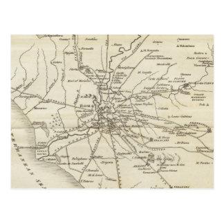 Mapa del vintage de Roma Italia (1821) Tarjeta Postal