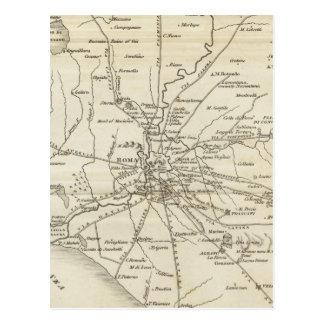 Mapa del vintage de Roma Italia (1821) Tarjetas Postales