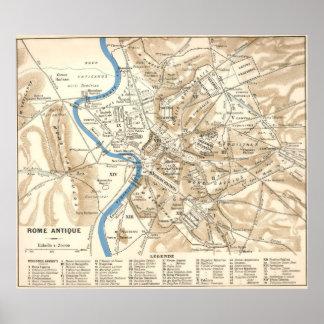Mapa del vintage de Roma Italia (1870) Póster