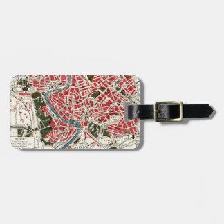 Mapa del vintage de Roma, Italia Etiquetas Maletas