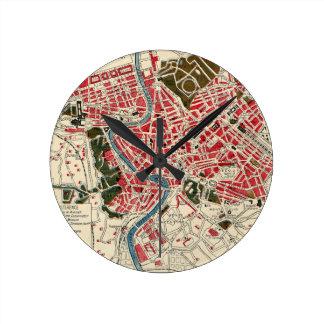 Mapa del vintage de Roma, Italia Reloj Redondo Mediano