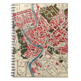 Mapa del vintage de Roma Spiral Notebooks