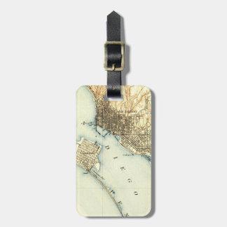 Mapa del vintage de San Diego Etiqueta Para Maleta