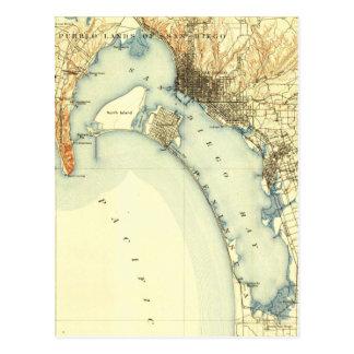 Mapa del vintage de San Diego Tarjetas Postales