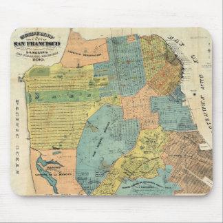 Mapa del vintage de San Francisco (1890) Alfombrillas De Ratón