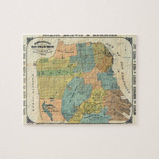 Mapa del vintage de San Francisco (1890) Rompecabeza Con Fotos