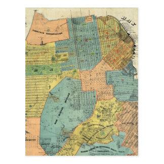 Mapa del vintage de San Francisco (1890) Tarjetas Postales