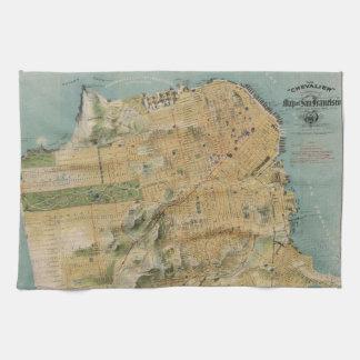 Mapa del vintage de San Francisco (1915) Toallas De Cocina