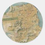 Mapa del vintage de San Francisco (1915) Etiquetas Redondas