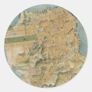 Mapa del vintage de San Francisco (1915) Pegatina Redonda