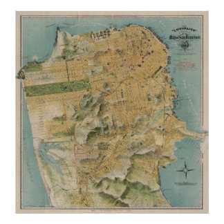 Mapa del vintage de San Francisco (1915) Póster