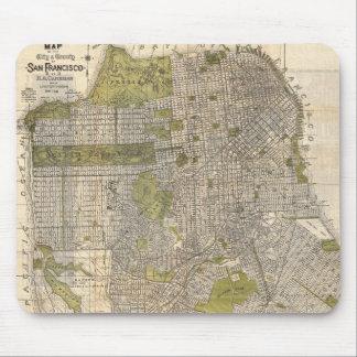 Mapa del vintage de San Francisco (1932) Tapetes De Ratones