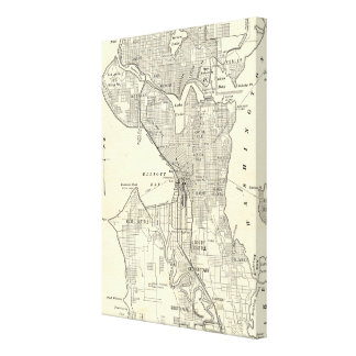 Mapa del vintage de Seattle (1914) Impresiones En Lona Estiradas