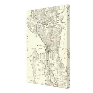 Mapa del vintage de Seattle 1914 Impresion En Lona
