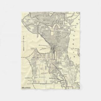 Mapa del vintage de Seattle (1914) Manta De Forro Polar