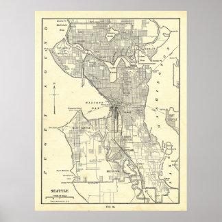 Mapa del vintage de Seattle 1914