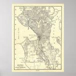 Mapa del vintage de Seattle (1914) Póster