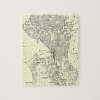 Mapa del vintage de Seattle (1914) Rompecabezas Con Fotos