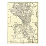 Mapa del vintage de Seattle (1914) Tarjeta Postal