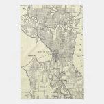 Mapa del vintage de Seattle (1914) Toallas De Mano