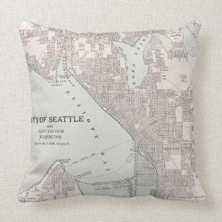 Mapa del vintage de Seattle Washington (1901) Cojín