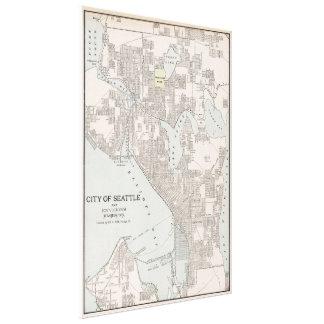 Mapa del vintage de Seattle Washington (1901) Impresion De Lienzo