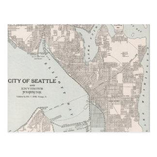 Mapa del vintage de Seattle Washington (1901) Postales
