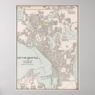 Mapa del vintage de Seattle Washington (1901) Póster