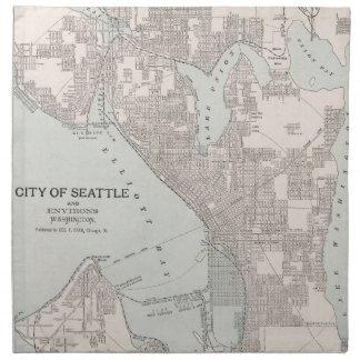 Mapa del vintage de Seattle Washington (1901) Servilleta