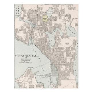 Mapa del vintage de Seattle Washington (1901) Tarjeta Postal