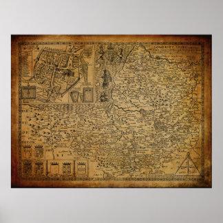 Mapa del vintage de Somerset Wessex Inglaterra Póster