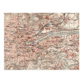 Mapa del vintage de Stuttgart Alemania (1909) Tarjeta Postal