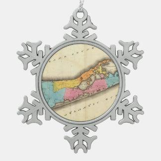 Mapa del vintage de Suffolk Nueva York (1829) Adorno De Peltre En Forma De Copo De Nieve