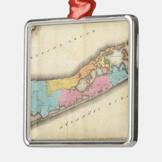 Mapa del vintage de Suffolk Nueva York (1829) Adorno Cuadrado Plateado